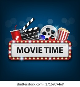 Cinema background concept, movie theater object on blue background and movie time with electric bulbs frame, vector illustration