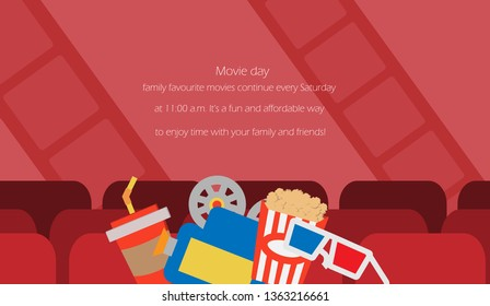 Cinema Background Movie  Premiere Film and popcorn with 3D glasses. Vector illustration