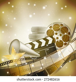 cinema background with retro filmstrip, clapper and stars