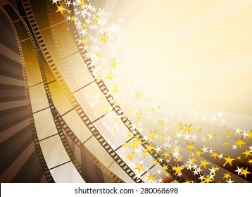 cinema background with retro filmstrip and golden stars
