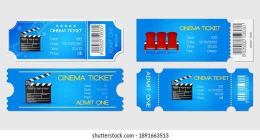 Cinema Blue Ticket. Vector isolated illustration on Grey background