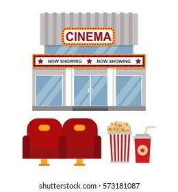 Cinema building and entertainment equipment vector illustration.