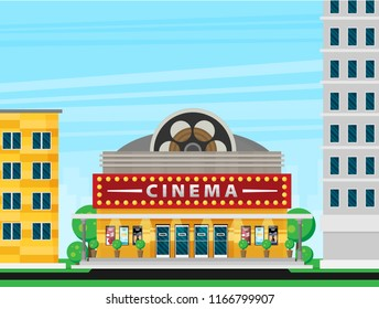 Cinema building flat style. Movie Theater.