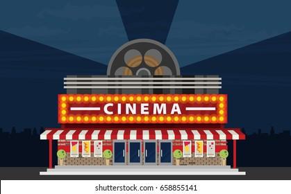 Kinogebäude im ebenerdigen Stil. Kino.