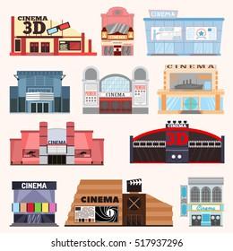 Cinema building vector set.