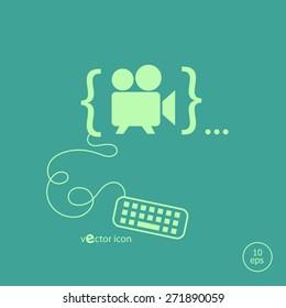 Cinema camera icon. Line icons for application development web design, creative process, social media.