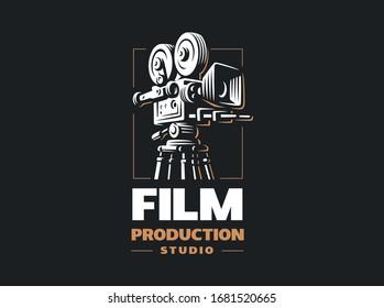 Cinema camera - vector illustrations. Design for black background