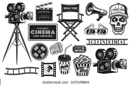 Cinema and cinematography big set of vector black objects or design elements in vintage style isolated on white background