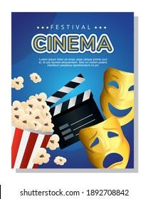 Cinema clapboard popcorn and masks design, Movie video film media entertainment theme Vector illustration