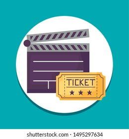 cinema clapboard with ticket icons