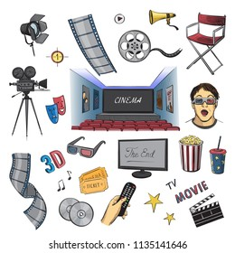 Cinema, a collection of color sketches. Cinema hall, popcorn, 3d glasses, viewer, video camera and other Cinema and TV symbols
