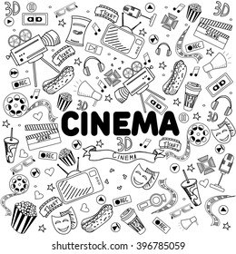 Cinema coloring book line art design vector illustration. Separate objects. Hand drawn doodle design elements.