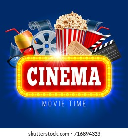 Cinema concept design template with popcorn, drink, clapping board and other objects on cinematograph theme. Realistic vector illustration.
