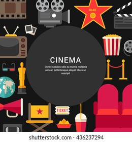 Cinema Concept. Flat Style Vector Illustration with Place for Text. Movie Theater, Cinematic Award, Movie Premiere