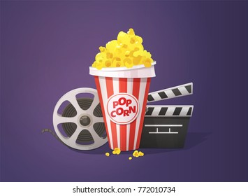 Cinema concept. Popcorn, open clapper board and movie reel. Vector illustration on dark background.
