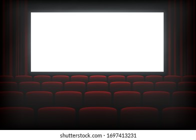 Cinema dark hall with white empty screen. Entertainment and presentation scene for indoor movie watching. Vector illustration