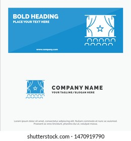 Cinema, Debut, Film, Performance, Premiere SOlid Icon Website Banner and Business Logo Template. Vector Icon Template background