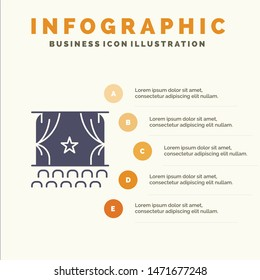 Cinema, Debut, Film, Performance, Premiere Solid Icon Infographics 5 Steps Presentation Background