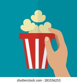 Cinema design over blue background, vector illustration.