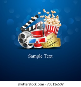 cinema design over blue background.vector illustration