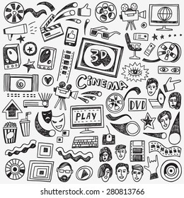 cinema doodles , set vector icons in sketch style