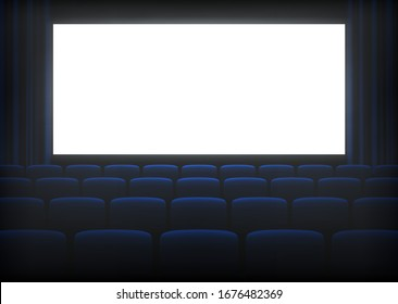 Cinema empty hall with bright white screen. Movie theater, picture house auditoria for viewing films, classic entertainment. Vector realistic cinema hall illustration