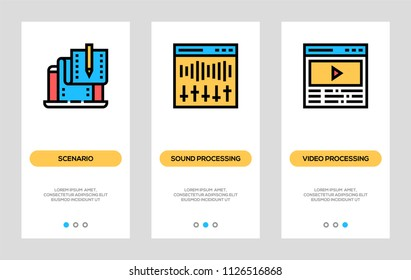 Cinema, Entertainment, Video Production Banners. Scenario, Sound Processing, Video Processing Vertical Cards. Vector Concept For Web Graphics.
