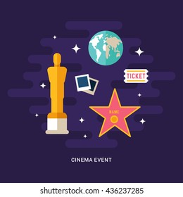 Cinema Event Concept Illustration. Cinematic Award. Set of Flat Style Vector Icons
