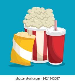 cinema fast food combo vector illustration graphic design