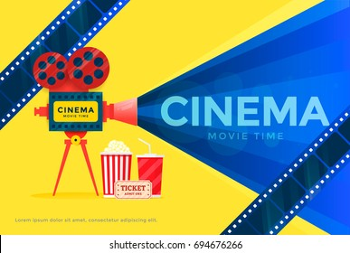 Cinema festival banner. Movie time poster template with camera. Vector illustration
