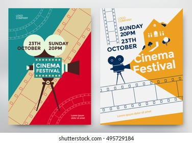 Cinema festival poster template with camcorder and line videotape. Vector illustration