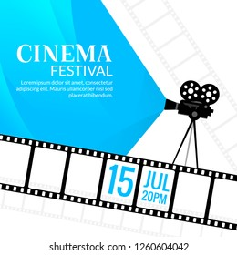Cinema festival poster template. Vector camcorder and line videotape illustration. Movie festival art background.