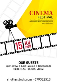 Cinema festival poster template. Vector camcorder and line videotape illustration. Movie festival art background