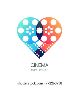 Cinema festival vector logo, icon, emblem design template. Overlapping film reel and filmstrip in heart shape. Video like symbol. Home movie time, media and watching tv concept.
