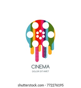 Cinema festival vector logo, icon, emblem design template. Colorful liquid film reel and filmstrip isolated illustration. Home movie time, media and watching video and tv concept.