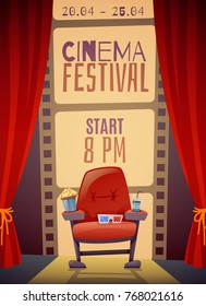 Cinema festival vertical poster with curtain, armchair with food, 3d glasses on film strip background vector illustration