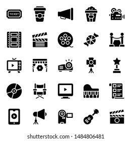 Cinema and film making glyph icons pack