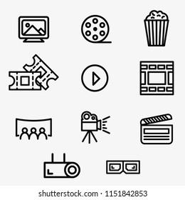 Cinema, film and movie vector icon set