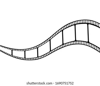 cinema film strip frames with different shape effect and empty space for your movie photograph and picture,  vector icon illustration isolated on white background.