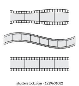 Cinema film strip roll 35mm blank slide frame vector set. Frame picture photography and cinema film strip frame illustration
