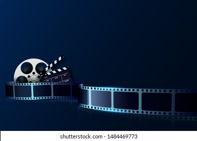 Cinema film strip wave, film reel and clapper board isolated on blue background. 3d Movie and film cinema festival poster. Design element template can be used for advertising, backdrop, brochure.