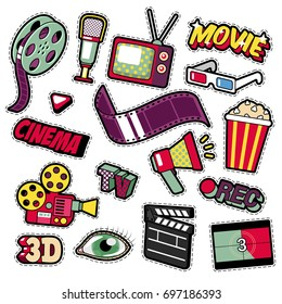 Cinema Film Television Patches, Badges, Stickers set with Camera, TV, Tape. Vector Doodle in Comic Style