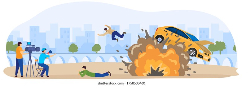 Cinema, filming movie process with cars crash, fire and stunt actor, video operators, filmmakers cartoon vector illustration. Film, cinema motion production, entertainment industry.