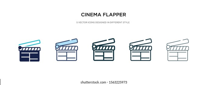 cinema flapper icon in different style vector illustration. two colored and black cinema flapper vector icons designed in filled, outline, line and stroke style can be used for web, mobile, ui
