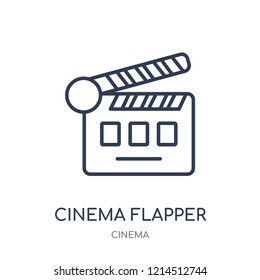 cinema flapper icon. cinema flapper linear symbol design from Cinema collection. Simple outline element vector illustration on white background.
