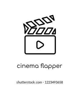 cinema flapper icon. Trendy modern flat linear vector cinema flapper icon on white background from thin line Cinema collection, editable outline stroke vector illustration