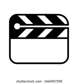 Cinema flapper or movie slapstick glyph icon isolated on white background