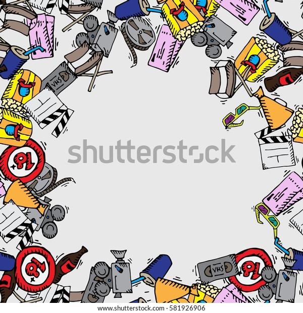 Cinema frame. Color doodle frame. Popcorn, film strip, movie symbols. Flat vector stock illustration