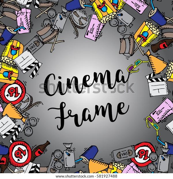 Cinema frame. Popcorn, film strip, movie symbols. Flat vector stock illustration