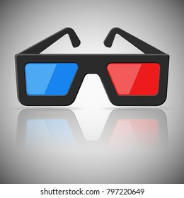 Cinema glasses icon. Blue and red 3d glasses. Vector illustration